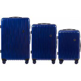 Set Trolere Policarbonat 4 Roti Duble Cifru TSA Wings PC 5223 - 3 Piese Albastru